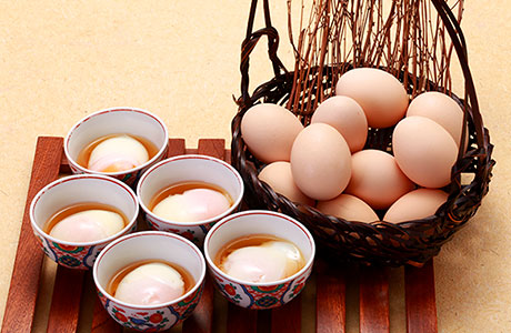 Onsen-tamago (soft boiled egg) from local Hidashokawa eggs