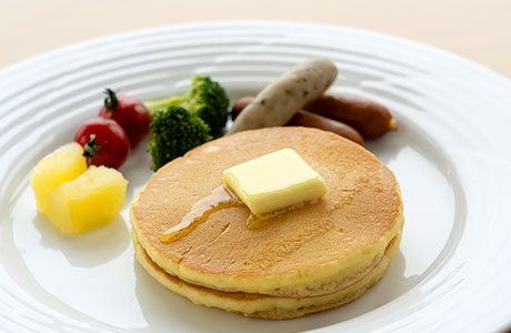Freshly baked, hotel-made pancakes