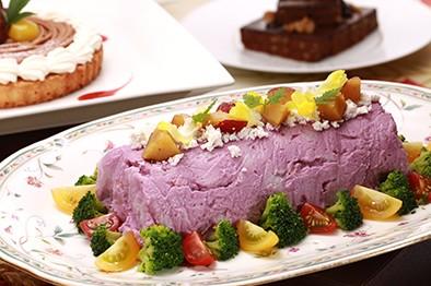 ポテトと紫芋のサラダ 飛騨牛乳のカッテージチーズ添え
